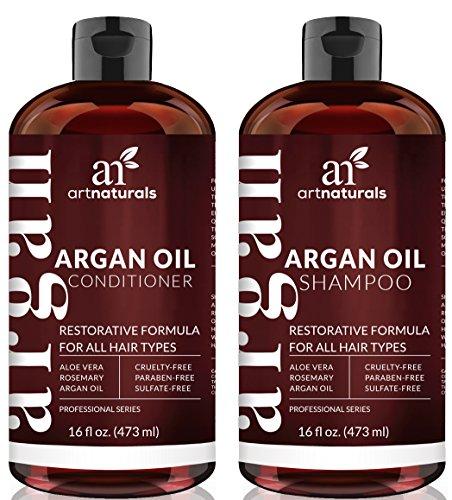 Set De Champú y Acondicionador hecho con Aceite orgánico de Argán de Marruecos, sin sulfatos. (2 x 473 ml) -ArtNaturals-
