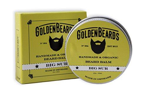 Bálsamo Handmade con Aceite de Argán, Jojoba y Albaricoque con extractos de lavanda para el cuidado de la barba -Big Sur–60ml Goldene Bigotes