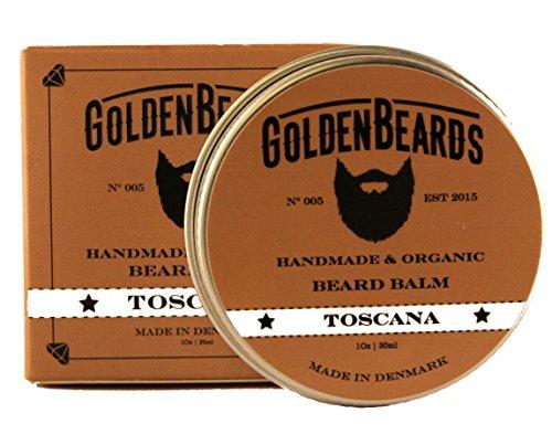Bálsamo Orgánico para Barba con Aceite de Argán, Jojoba y Albaricoque hidrata tu barba y vigote Obtén una barba perfecta. -Toscana- 30ml - 100% natural * Golden barbas * |