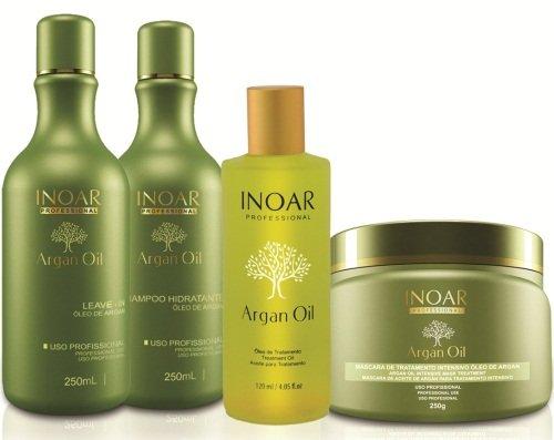 KIT Brasilero que contiene Aceite de Argán 60ML, un leave-in de 250ML, un Champú Aceite de Argan de 250 ML para el cuidado integro del pelo o cabello en casa -INOAR-