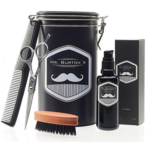 """Kit de cuidado integral para la barba de alta calidad, que incluye el aceite para barba Mr. Burton´s """"fresh"""", un cepillo para barba unas tijeras para barba y un peine, excelente como regalo para caballero y entusiastas de las barbas"""