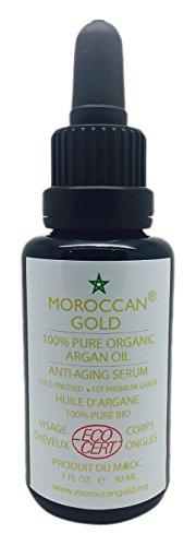 Moroccan Gold de mejor productor de petróleo de argán 2015 Pura Orgánica Ecocert aceite de argán Serum Antienvejecimiento 30ml / 1oz
