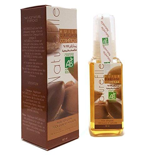 NaturaleElle Aceite de Argan 100% Resultado puro y natural para el cuidado de tu pelo . Orgánica de Lucha contra el envejecimiento Resultado inmediato ECOCERT certificado - Dispenser 60ml