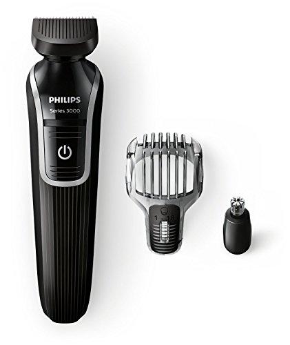 Recortador para arreglarte la barba y precisión 3 en 1, color negro -Philips QG3320/15-