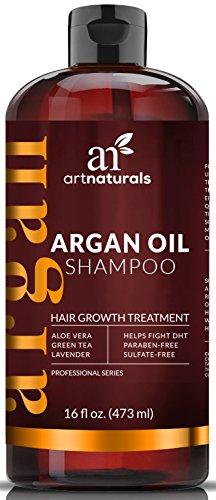 Arte Naturals Aceite de Argán Orgánico pérdida de cabello Champú para el crecimiento del vello 473ml–Sulfato libre–mejor tratamiento para la pérdida de cabello, crecimiento de entresacar &–Producto para hombres y mujeres–Infused con biotina–2016