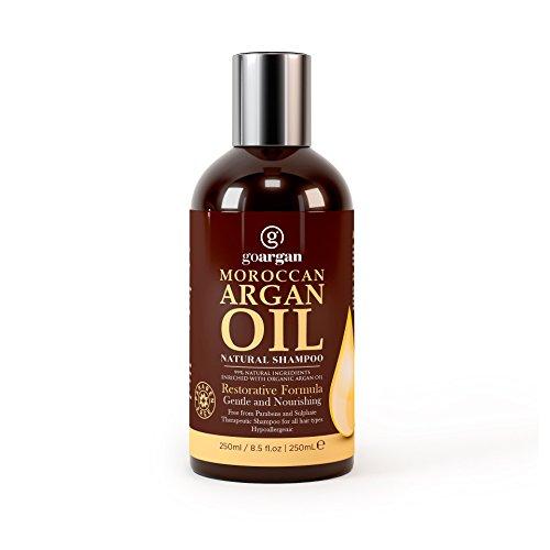 Champú con aceite de argán marroquí con fórmula de reparación 250ml. Suave y paraben libre para todo tipo de cabello. Limpia, Dolby, hidrata, Desenreda pelo y revitaliza el cuero cabelludo y split-ends tanto para hombres y mujeres