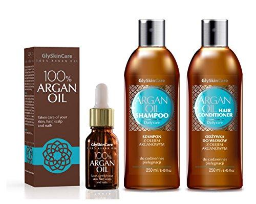 glyskincare aceite de argán Champú de aceite de argán & Acondicionador de Cabello y aceite de argán 100% set