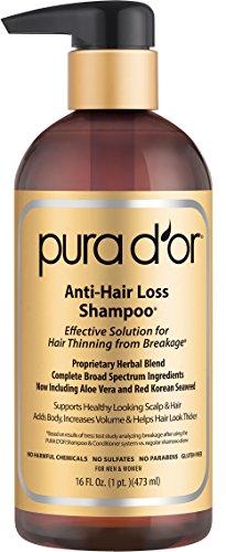 PURA D'OR Champú de aceite de argán orgánico Premium para la prevenciónde Caída del cabello (Gold Label), 16 onzas líquido