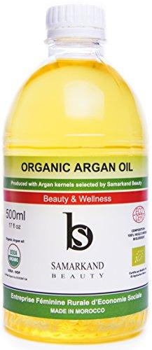 500 ml Aceite de Argán BIO 100% Puro conCertificado Ecológico EcocertPrimera Presión en Fríopara Pelo y Piel - El Original de Marruecos