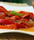 Ensalda de pimientos y tomates asados con aceite de argán