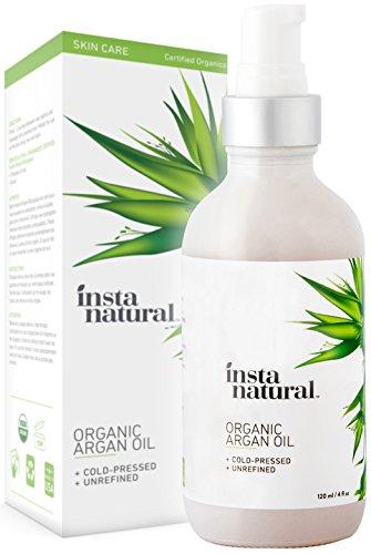 InstaNatural Aceite Argán Orgánico - Para el cabello, la cara, la piel y el cuerpo - Aceite de argán prensado en frío de Marruecos 100% Puro y Orgánico Certificado - para el acné, las uñas, el cuero cabelludo seco, puntas abiertas, estrías y más - 120 ml