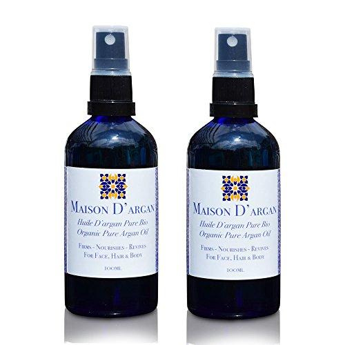 Maison d 'argan–Aceite de Argán para cabello, rostro y cuerpo–100% orgánico puro prensado en frío, certificado por ECOCERT, hecha a mano por las mujeres bereberes