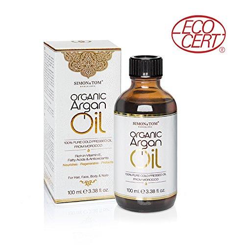 Simon & Tom Aceite de Argán orgánico puro de Marruecos prensado en frío certificado por Ecocert 100ml ✔vegano ✔sin parabenos ✔sin ftalatos ✔no testado en animales