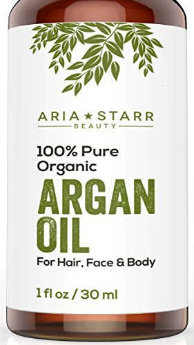 Aria Starr Beauty ORGANIC Argan Oil For Hair, Skin, Face, Nails, Cuticles & Beard- Best 100% Pure Moroccan Anti-Aging, Anti-Wrinkle Beauty Secret,EcoCert Certified Cold Pressed Moisturizer 1 OZ by AriaStarrBeauty