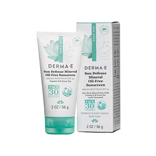 Derma e Antioxidante Natural Sunscreen SPF 30 - Loción facial sin aceite con vitamina C y té verde, 2 oz